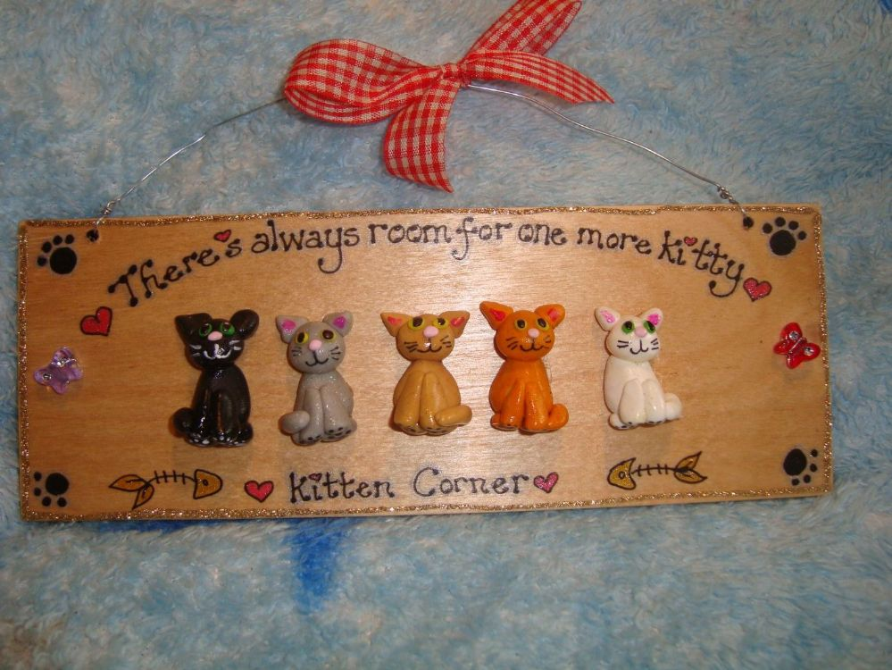 5 character 3d Cat Sign Any Phrasing Personalised & Customised Plaque Handmade To Order There's Always Room For One More Kitty